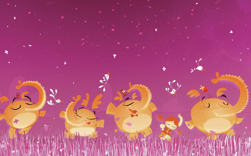 - adorable, animals, brightcolored, brightcolors, calm, cartoon, cartoony