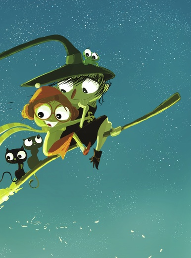 friends on a broomstick