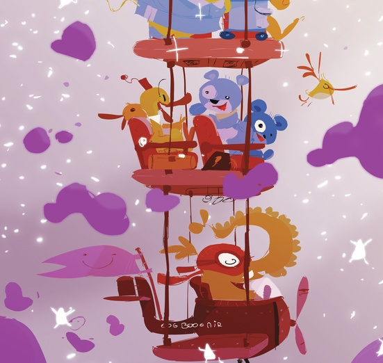 - adorable, airplane, bags, balancing, brightcolored, brightcolors, cartoon