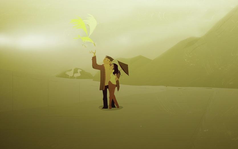 - beach, bird, couple, date, first, man, rain