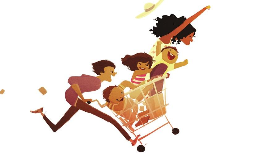 - adorable, beige, boy, brown, cart, cartoon, cartoony