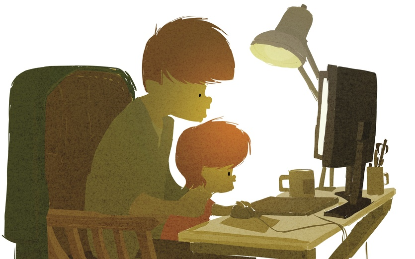 - affection, brown, cartoon, cartoony, chair, child, colored