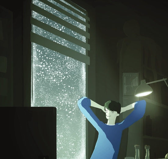 - back, blinds, blue, dark, evening, handiwork, lamp