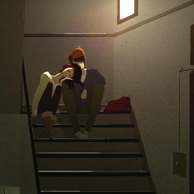 moment on the stairs