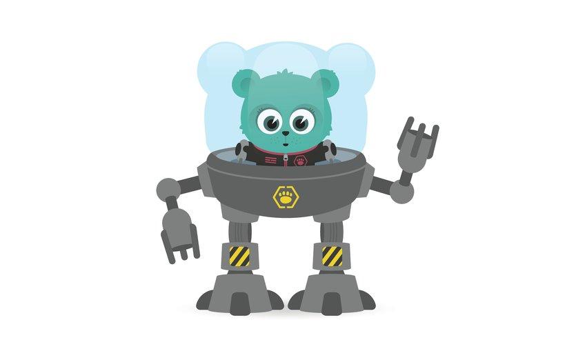 - animal, astronaut, bear, control, cub, cute, drive