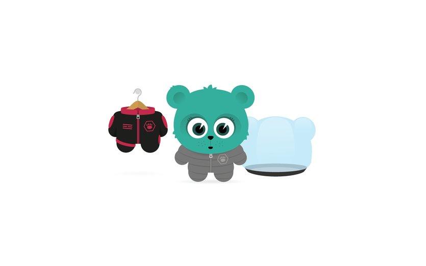 - animal, bear, clothes, clothing, cub, cute, dressing
