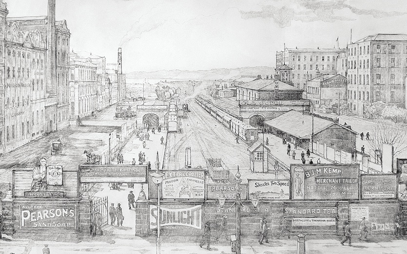 Britomart – Queen St 1500 x 1000mm An exploration of a new technique of mine, using varnish-wash over pencils of various kinds in conjunction with colour-washes – preserving the dynamics of the first canvas-sketches and drawings that hold the spontaneous essence of every picture IDEA . . . free with no frills – the GREAT SIMPLICITY . . . leaving plenty of room for our mind's imagination to experience the extra-dimensions of clarity of lines, depth of shadows, spaces of light.  - canvas, drawing, historic, pencils, varnish-wash