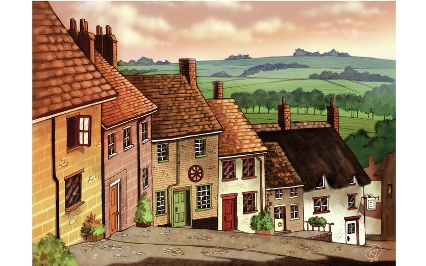 - cottages, country, environment, landscape, sunset, village