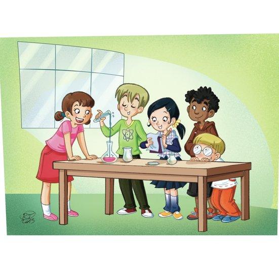 - cartoon, characters, chemistry, colours, ezperiment, kids, science