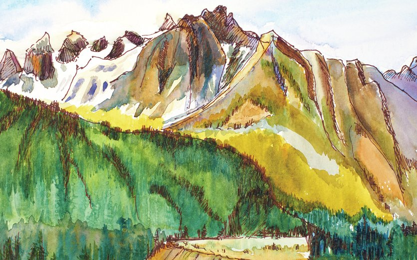Painted while staying with the St.Olaf group at Holden Village. A historically Christian retreat community similar to a Kibbutz on the West Coast. - christian, holden_village, mountains, stolaf, washington