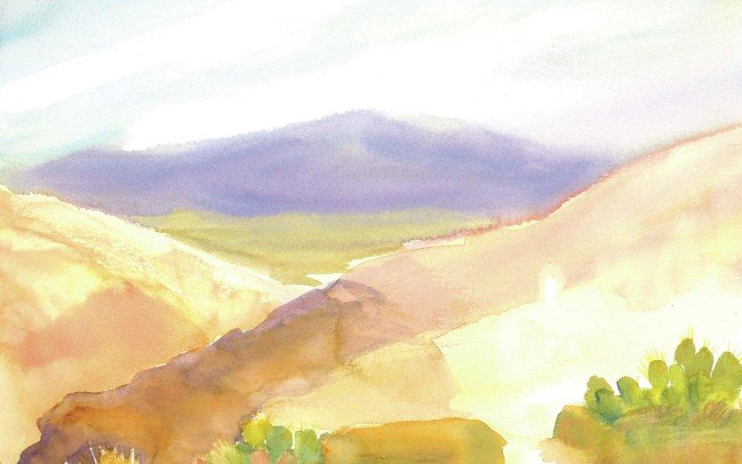 - cactus, desert, mountain, purple, watercolor