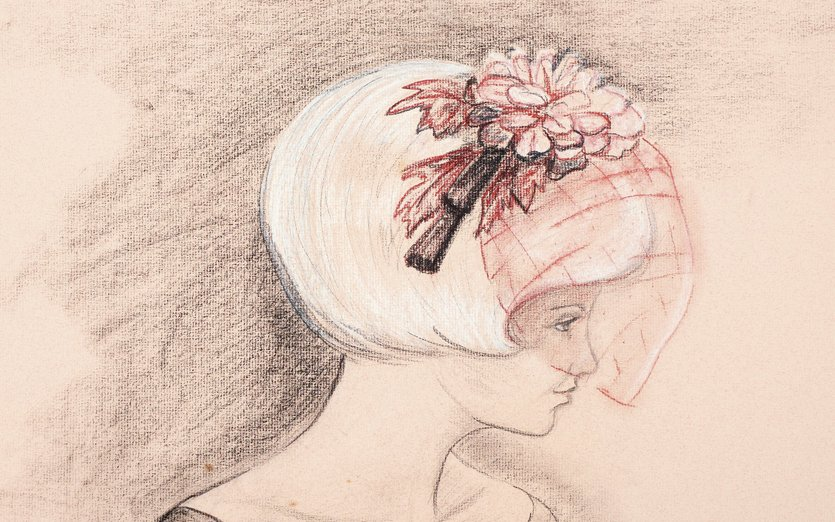 - 1960s, bridesmaid, charcoal, emily, hairpiece, wedding, woman