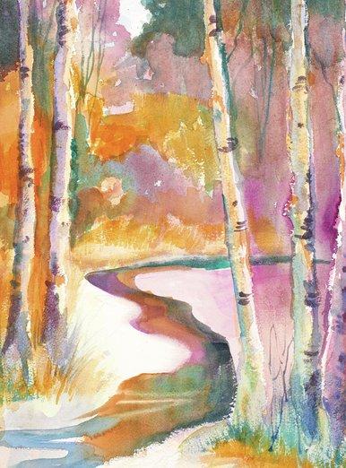 - birch, nature, north, poplar, rainbow, watercolor, winter