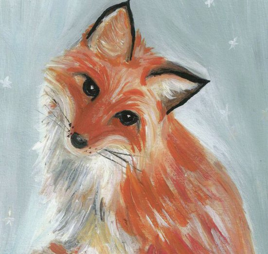 - animals, fox, magical, painting, snow, snowflakes, winter