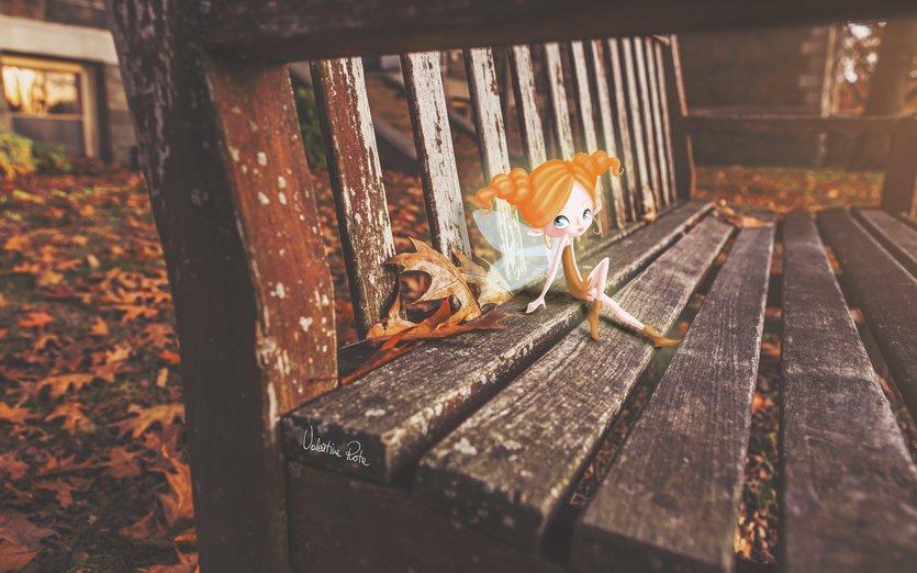 - autumn, bench, brown, creature, cute, fairy, hair
