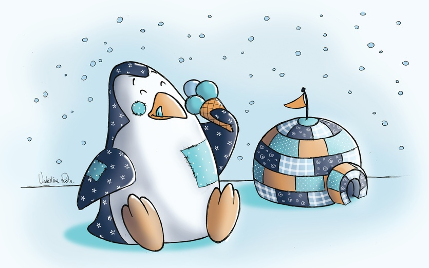 """This drawing is part of a sries of drawings called """"My little PatchWorld"""" - adorable, adorbs, animal, blue, cartoon, cartoony, cold"""