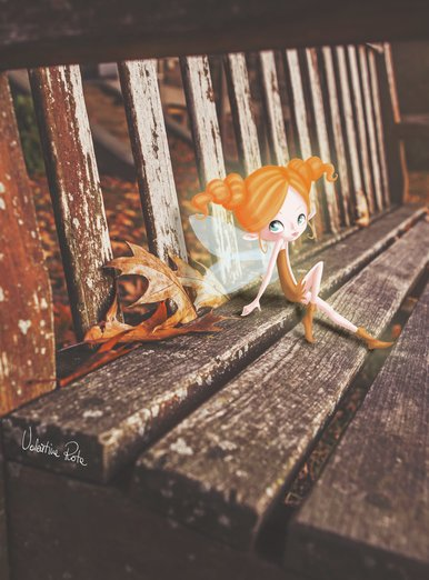 Fairy sitting on a bench