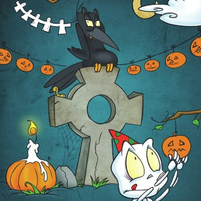 The cute little skeleton and the grumpy crow