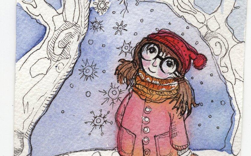 - forest, girl, school, snow, trees, winter