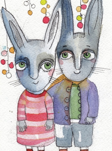- adorable, blue, bunnies, cartoon, cartoony, character, colored