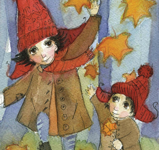 - admiring, adorable, autumn, blue, brown, cartoon, cartoony
