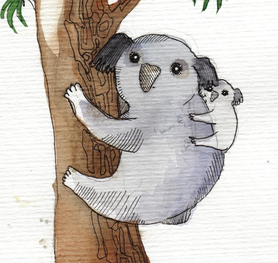 - adorable, affection, animals, branches, brown, cartoon, cartoony