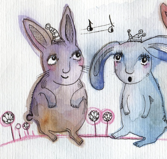 - adorable, animals, blue, bunnies, cartoon, cartoony, character