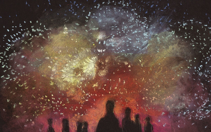 Next summer, hope I can see a fireworks show with you. - art, black, colored, colorful, colors, crowd, detailed