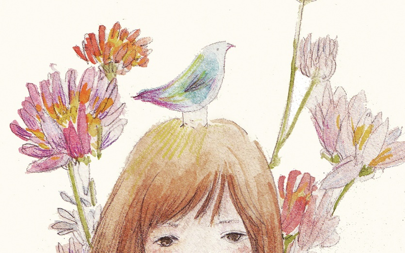 - animal, bird, brown, dream, flowers, girl, grey