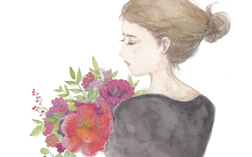 She closes her eyes and hugs spring - beauty, flowers, girl, hair, plants, spring, watercolour