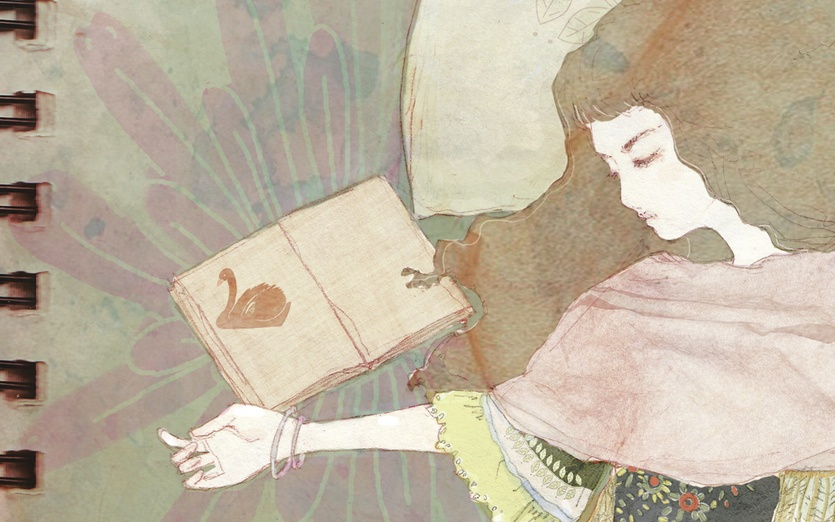 I drew these illustration at a sleepless night :)  - beautiful, bed, book, brown, calm, closedeyes, dream