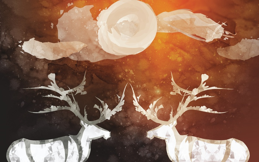 Mother and father of the forest - animals, antlers, bordeaux, brightcolored, brightcolors, buck, cartoon