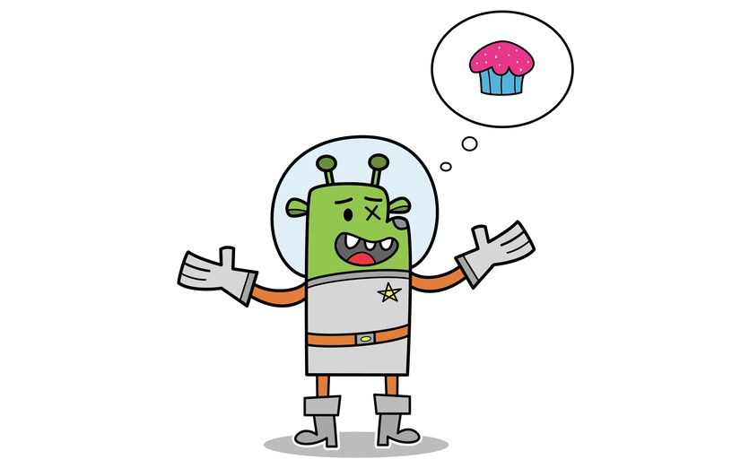 Avery the space explorer is on a galactic quest to find desserts throughout the galaxy.  Cupcakes are his favorite. - adorable, alien, astronomy, avery, blue, brightcolored, brightcolors