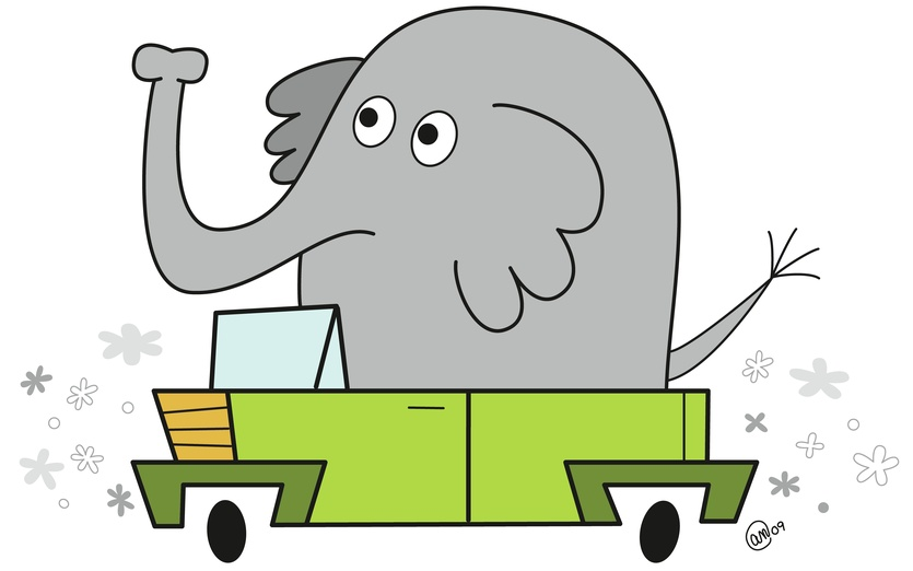 An elephant driving to work. - adorable, black, brightcolored, brightcolors, car, cartoon, cartoony