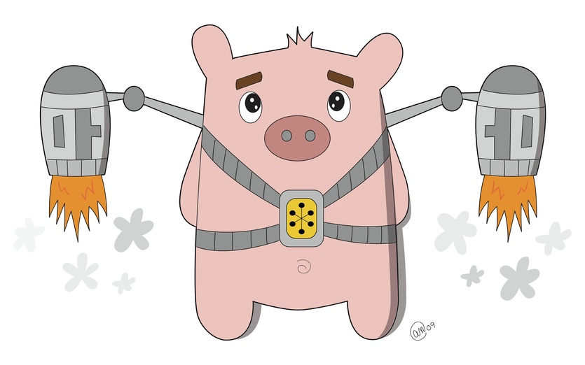 This little piggy was determined to fly. - adorable, cartoon, cartoony, character, cheerful, colored, colorful