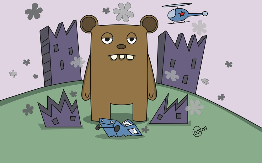 The monster is at the wrong place at the wrong time.  The helicopter destroyed the buildings, but the monster will be blamed. - adorable, blue, brightcolored, brightcolors, brown, buildings, cartoon