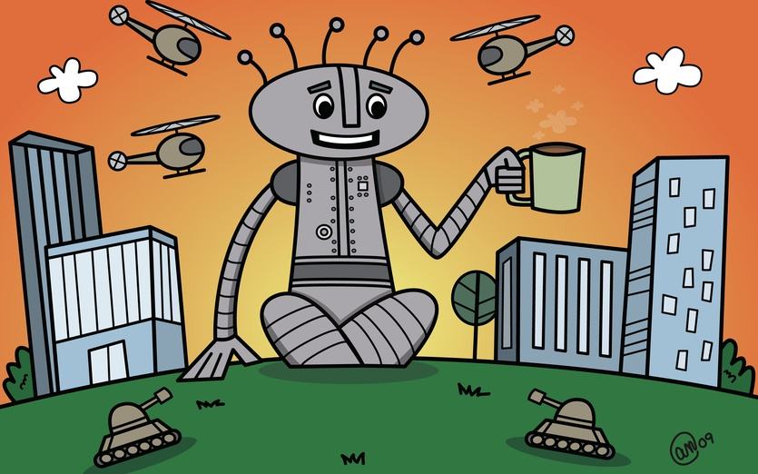 A robot trying to enjoy his morning cup of coffee. - adorable, armed, arms, attack, brightcolored, brightcolors, buildings