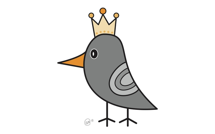 His royal highness, the King of Crows. - adorable, bird, black, cartoon, cartoony, character, cheerful