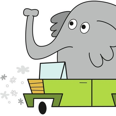 Elephant Driving Car