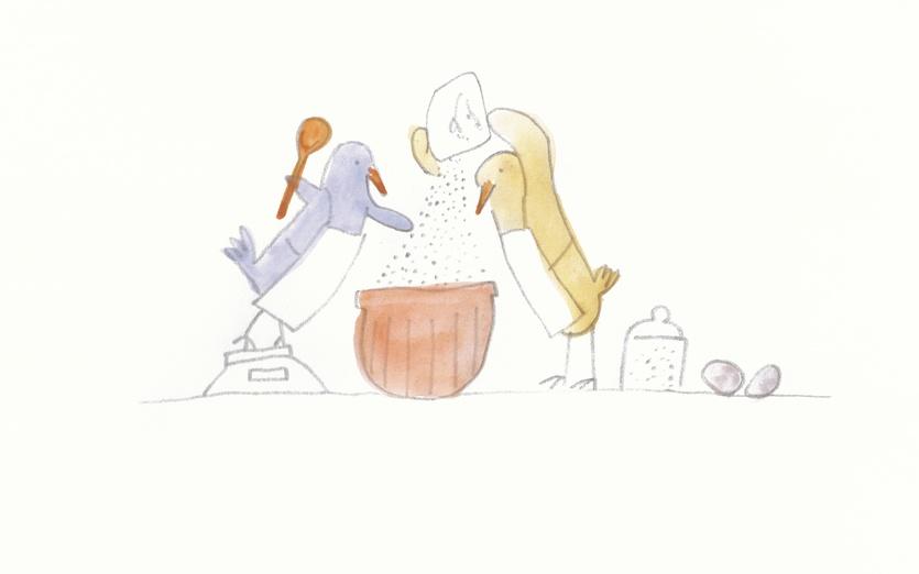 - adorable, baking, beige, birds, cartoon, cartoony, characters