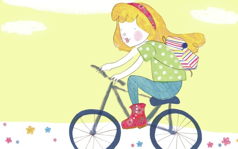 - adorable, bicycle, bike, blue, cartoon, cartoony, character