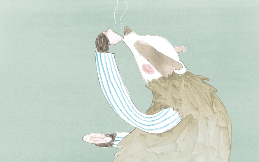 - adorable, badger, blue, brown, cartoon, cartoony, character