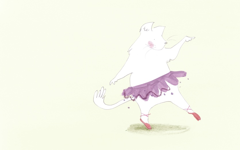 - adorable, ballet, beige, cartoon, cartoony, cat, character