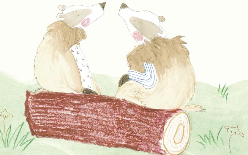 - adorable, animals, badgers, beige, brown, cartoon, cartoony