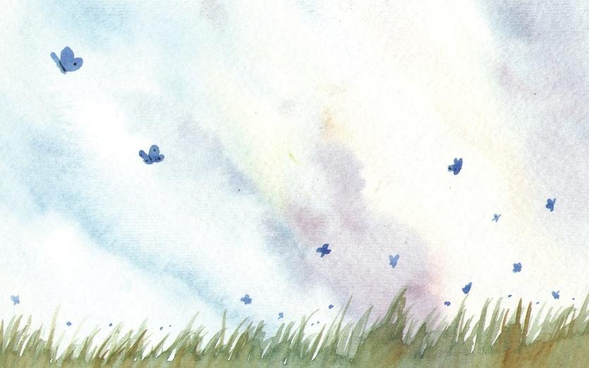 - beige, blue, butterflies, butterfly, calm, cartoon, cartoony