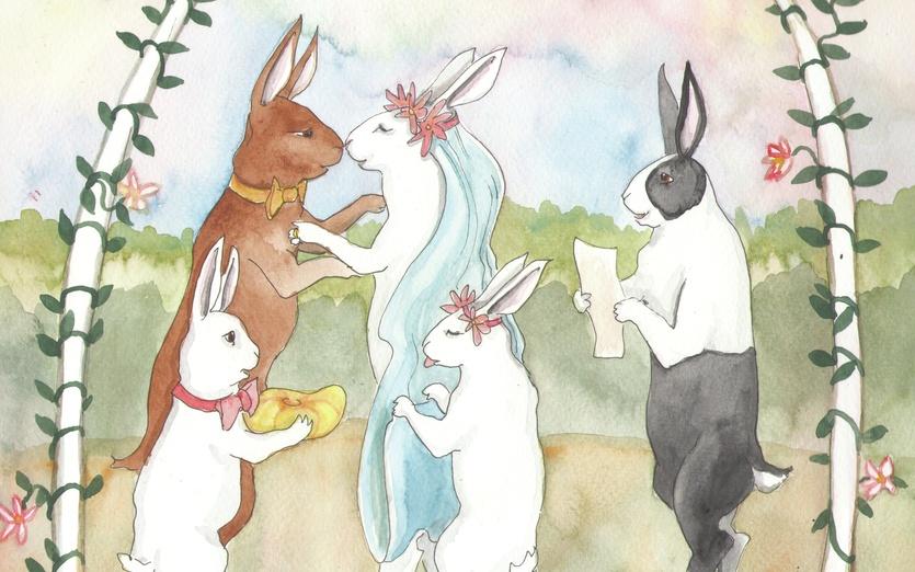 - adorable, adorbs, art, blue, bowtie, brown, bunnies