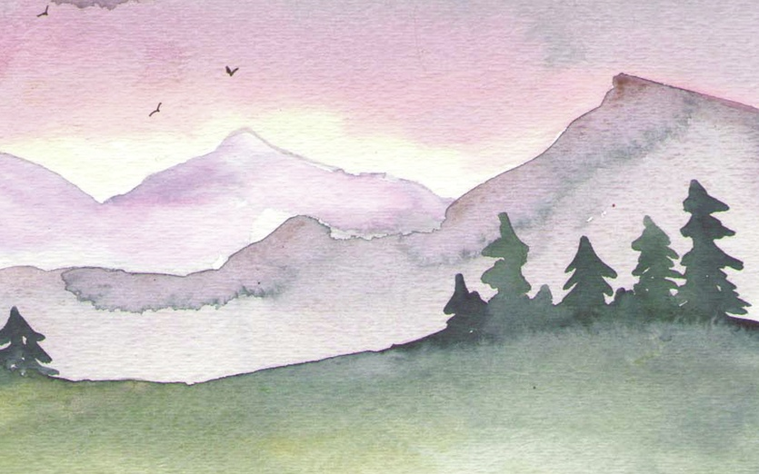 A pink sunset over distant mountains. - animals, birds, cartoon, cartoony, clouds, cloudy, colored
