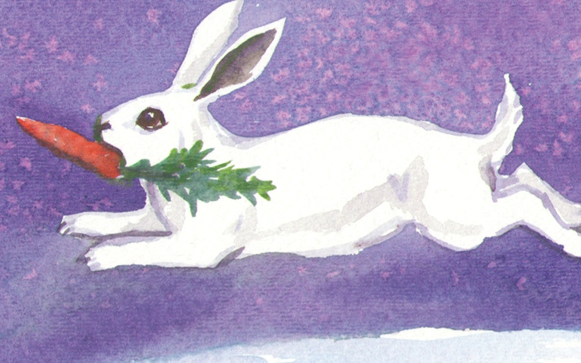 A white rabbit runs across a snowy ground with a carrot in its mouth. - adorable, animal, bunny, carrot, cartoon, cartoony, character