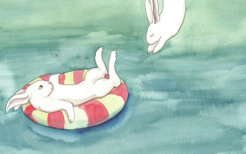swimming rabbits by bluedogrose on storybird
