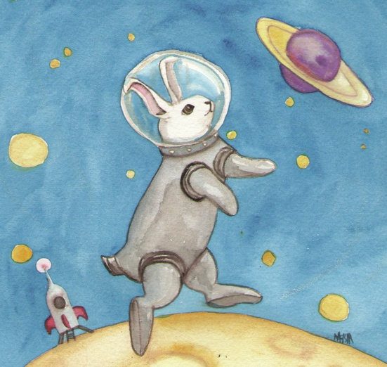 A rabbit in a space suit walking on the moon. - adorable, animal, astronaut, blue, bunny, cartoon, cartoony
